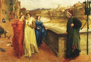 L'incontro immaginario fra Dante e Beatrice (con il vestito bianco) di Henry Holiday